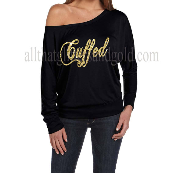 Cute Off The Shoulder  Cuffed Gold Glitter  Shirts For Women