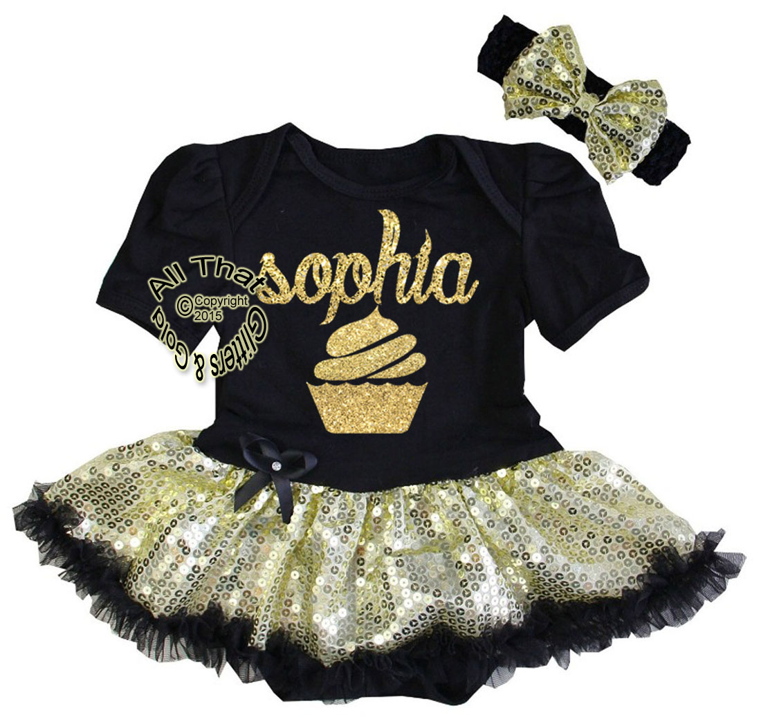 Personalized Baby Girl Coming Home Tutu Outfit Black And Gold Glitter