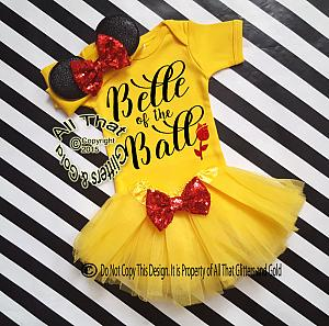 Cute Belle Inspired Birthday Tutu Costume For Baby Girls and Little Girls