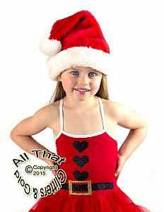black and gold glitter santa suit christmas tutu dress for little girls