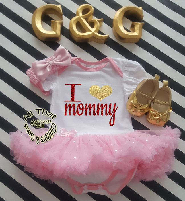 Cute 2 Piece I Love Mommy Valentine's Day Glitter Baby Girl Tutu Dress Outfit