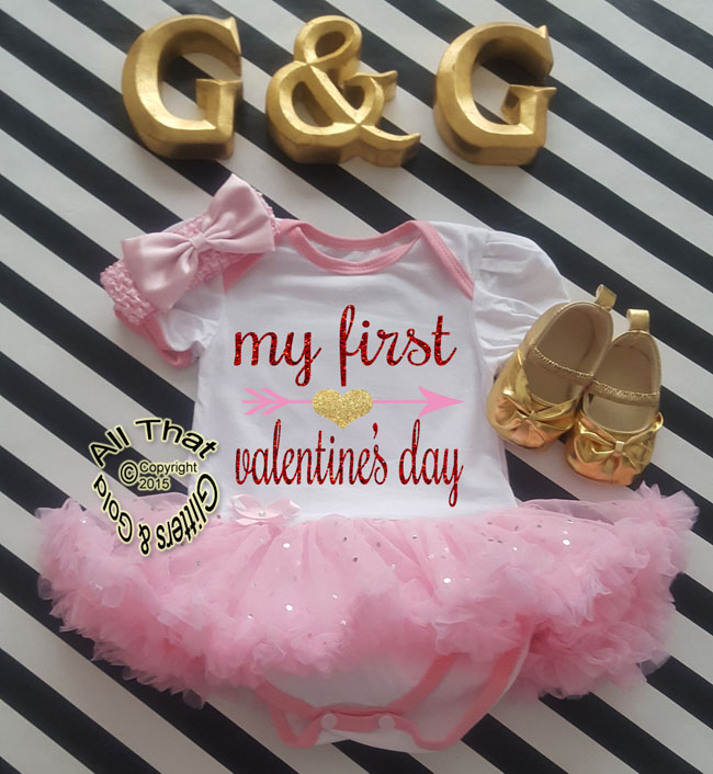 85eac0d4e1db Cute Glitter First Valentines Day Baby Girl Tutu Dress Outfit