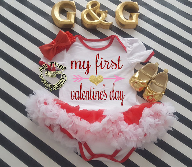 Valentines Outfits For Baby Girl Cute Glitter First Valentines Day