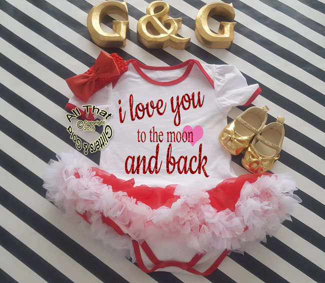 Cute 2 Piece I Love You To The Moon Valentine's Day Glitter Baby Girl Tutu Dress Outfit