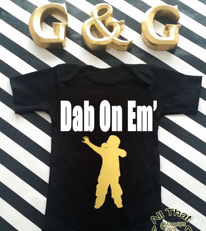 Black and Gold Dab On Em Baby Boy and Little Boys Shirt