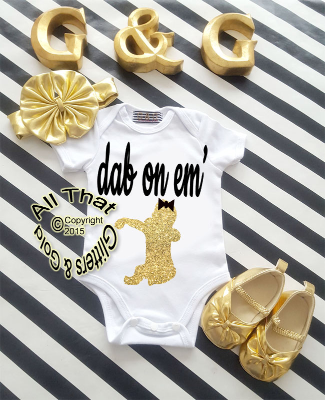 Black and Gold Glitter Dab On Em Baby Girl Birthday Outfit