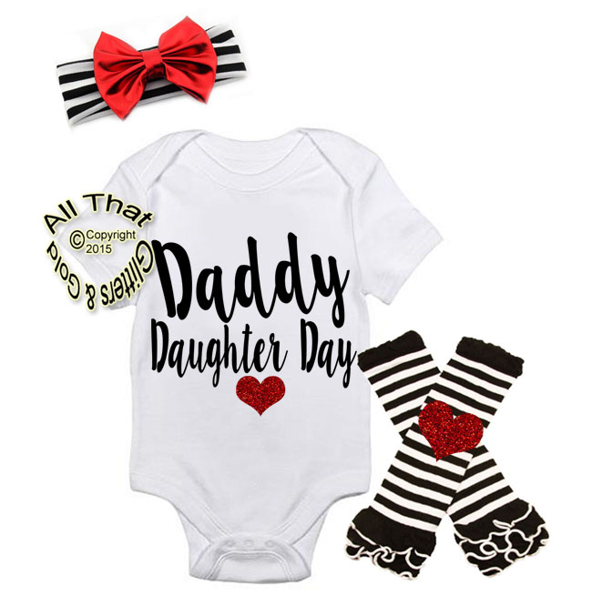 Black and Red Daddy' Daughter Day Baby Girl Outfit