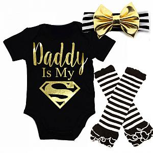 Black and Gold Daddy Is My Superman Baby Girl Outfit