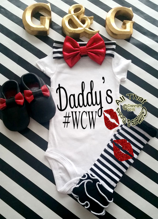 Black and Red Glitter Daddy's #WCW Baby Girl and Little Girl Shirt
