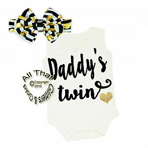 Black, White and Gold Glitter Daddy's Twin Shirt or Outfit