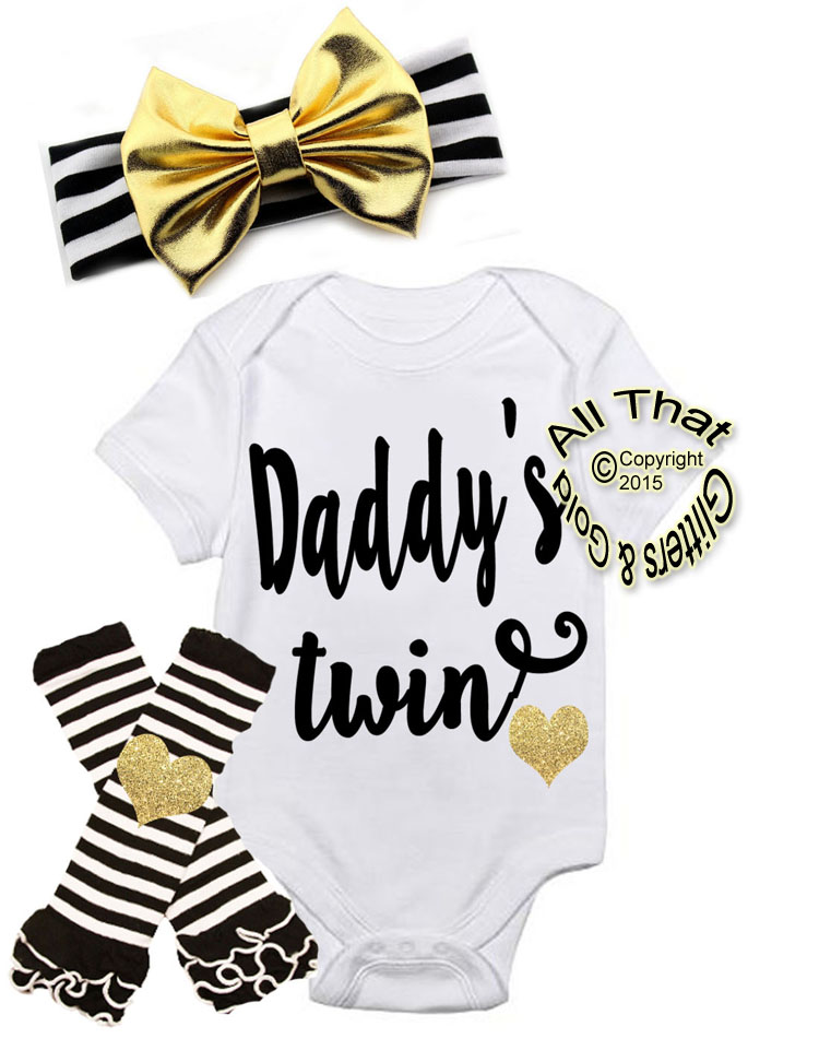 Black and Gold Daddy's Twin First Outfit For Baby Girl