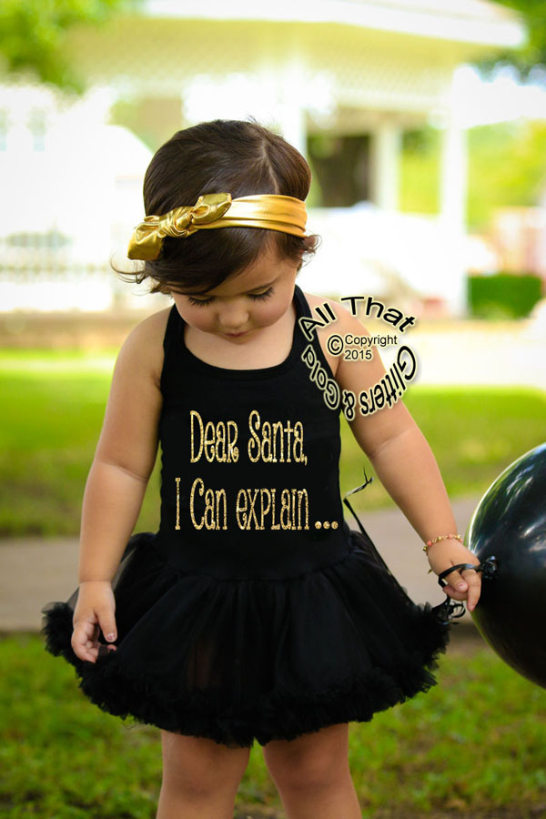 Black and Gold Glitter Dear Santa I Can Explain Christmas Tutu Dress For Little Girls