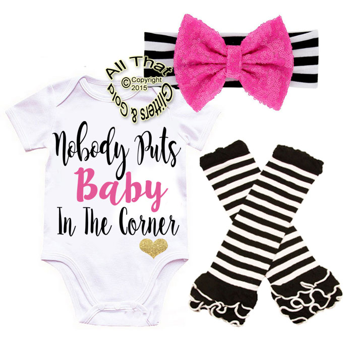 Black and Pink Nobody Puts Baby In The Corner Baby Girl Outfit