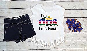 Dos Mexican Fiesta 2nd Birthday Outfit With Denim Shorts For Toddler Girls