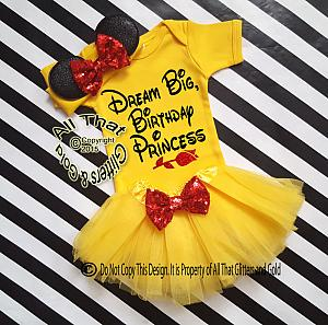 Cute 3pc Belle Inspired Dream Big Birthday Tutu Costume For Baby Girls and Little Girls