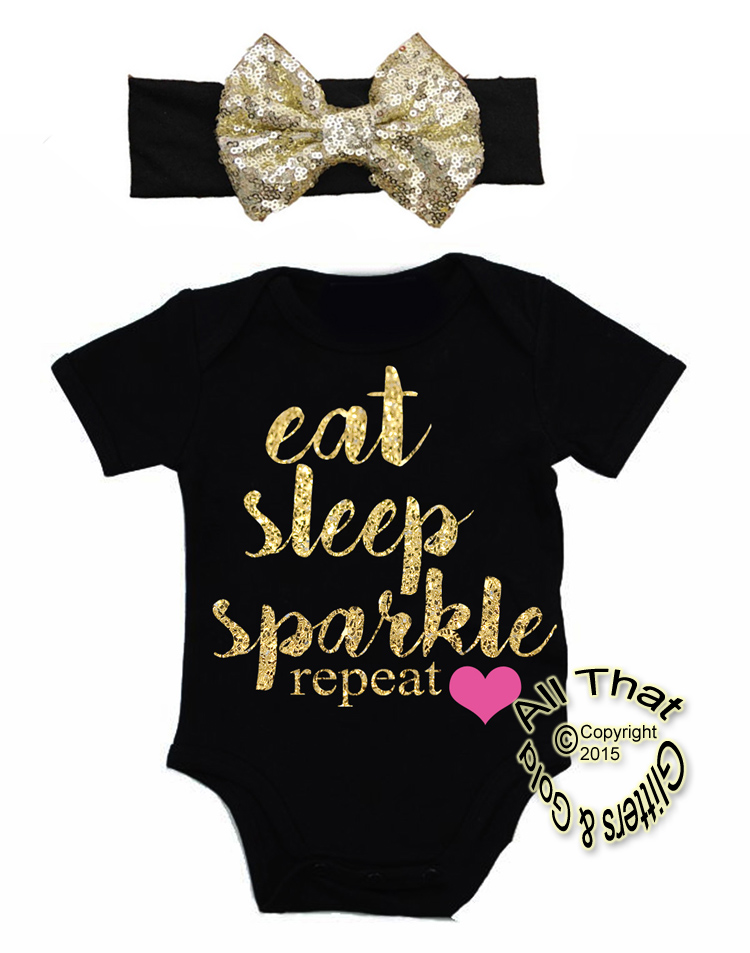 ae26a9540 2 Pc Black and Gold Glitter Eat Sleep Sparkle Baby Girl Outfit