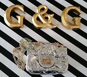 Little Girls Metallic Silver Handbag With a Chain Shoulder Strap