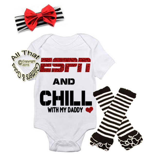 Black and Red ESPN and Chill With My Daddy Baby Girl Outfit