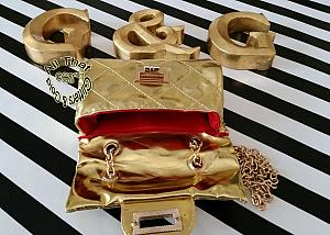 Little Girls Metallic Gold Handbag With Gold Chain Shoulder Strap