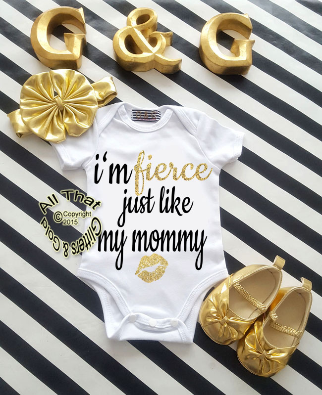 Black and Gold Glitter Fierce Just Like Mommy Baby Girl Outfit