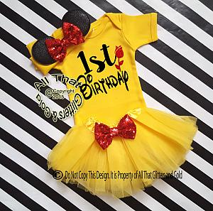 Belle Inspired Birthday Tutu Costume For Baby Girls and Little Girls