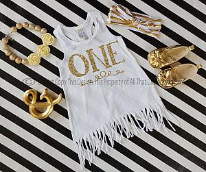 White and Gold Birthday Age Baby Girls and Little Girls Fringe Dress Age 1-6