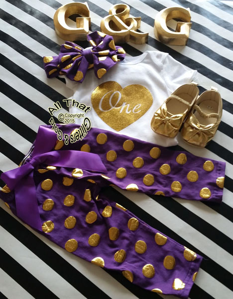 Purple and Gold Polka Dot One 1st Birthday Pants Outfits For Baby Girl