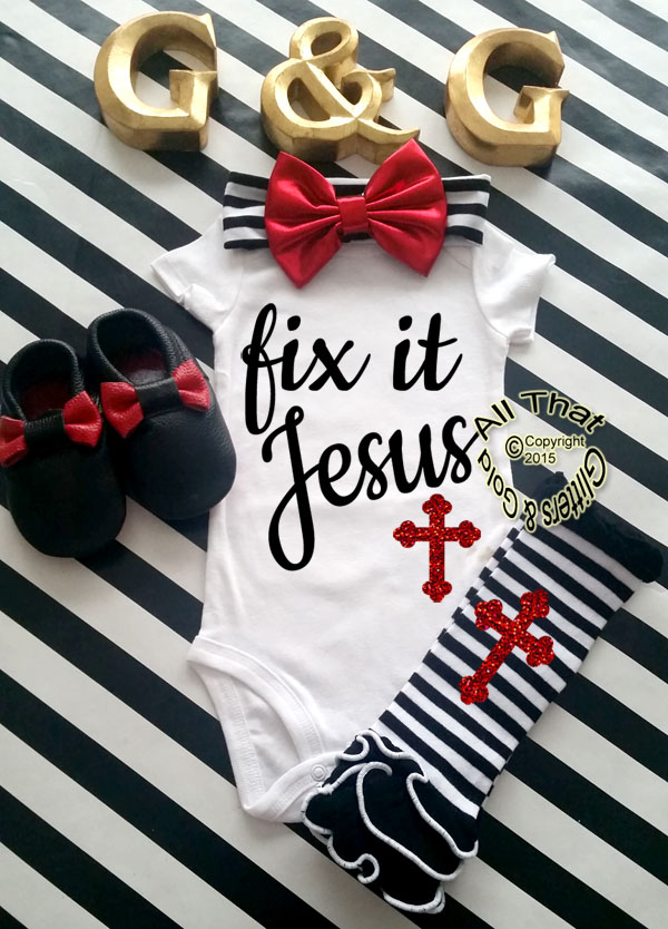 Black and Red Glitter Fix It Jesus Baby Girl and Little Girl Shirt