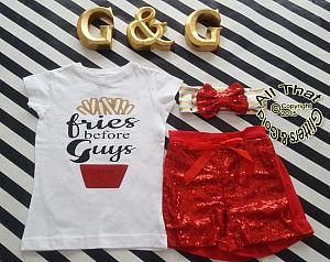Red and Gold Fries Before Guys Baby Girl and Little Girl Outfit
