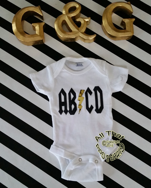 Black and Gold Glitter ABCD Punk Rock Baby Girl and Boy Bodysuit