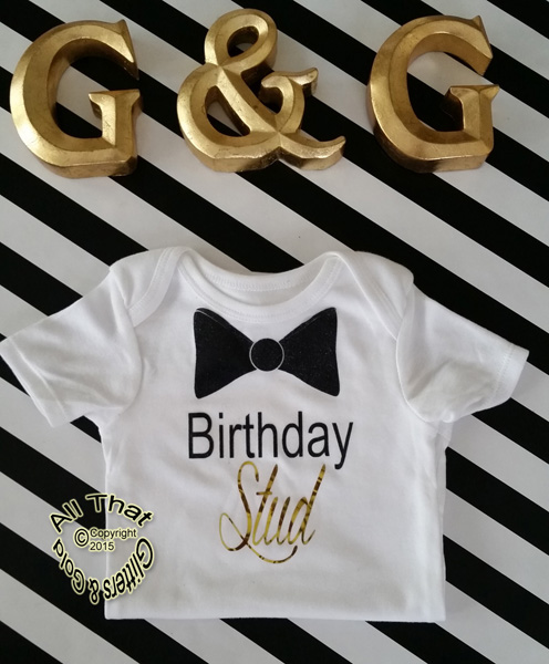 Black and Gold Glitter Birthday Stud Baby Boy Bodysuit