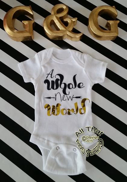 Black and Gold Glitter A Whole New World Baby Girl and Boy Bodysuit