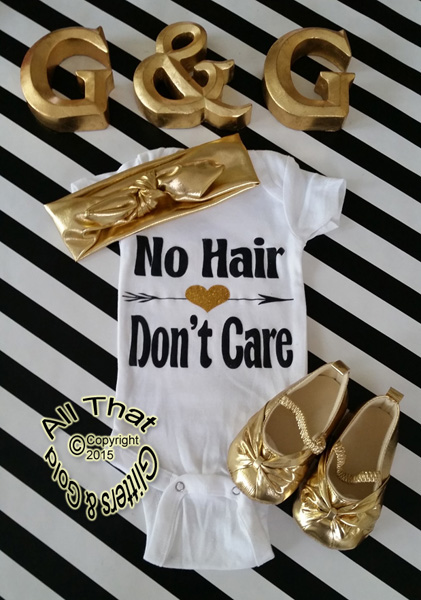 Black and Gold Glitter No Hair Dont Care Baby Girl Outfit