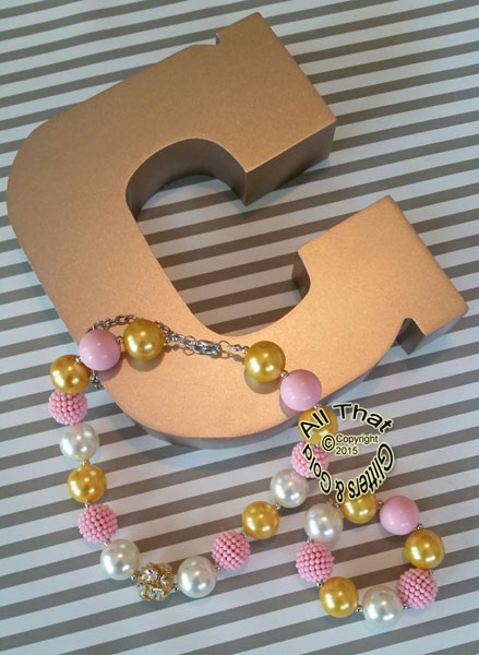 Pink, White, and Gold Glitter Sparkly Bling Baby Girls & Women Chunky Beaded Necklace and Bracelet Set
