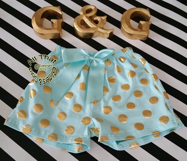 Mint and Gold Metallic Polka Dot Girls Summer Shorts