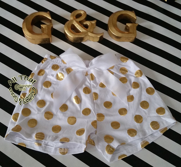 White and Gold Metallic Polka Dot Girls Summer Shorts