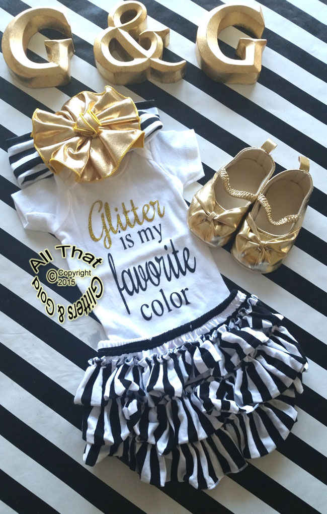 Black and Gold Glitter Is My Favorite Color Baby Girl and Little Girl Shirt