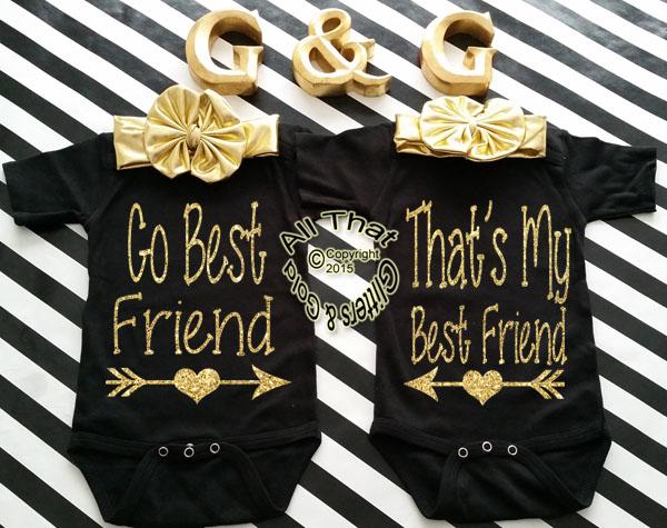Black and Gold Glitter Go Best Baby Girl and Little Girl Best Friend Shirts