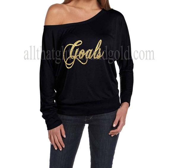 Cute Off The Shoulder Gold Glitter Goals Shirts For Women