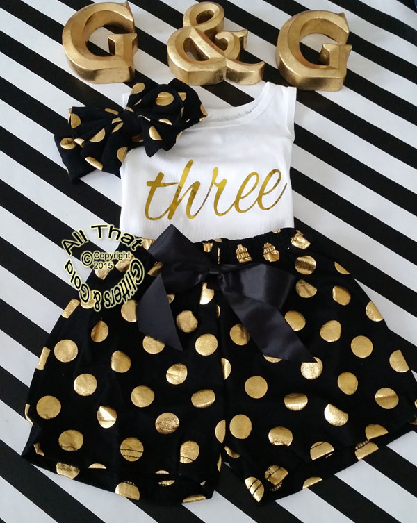 Black and Gold Polka Dot 2nd 3rd 4th Girls Birthday Shorts Outfits