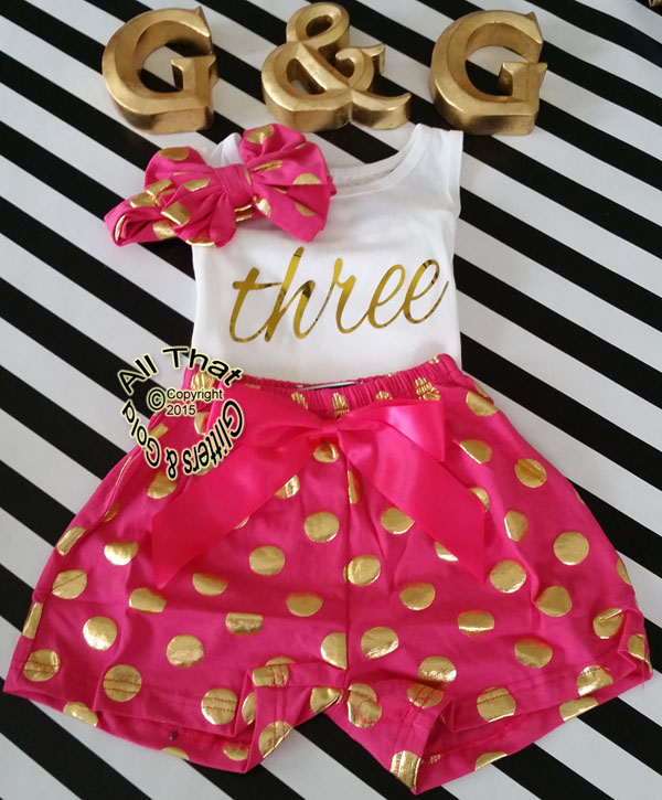 Hot Pink and Gold Polka Dot 2nd 3rd 4th Girls Birthday Shorts Outfits