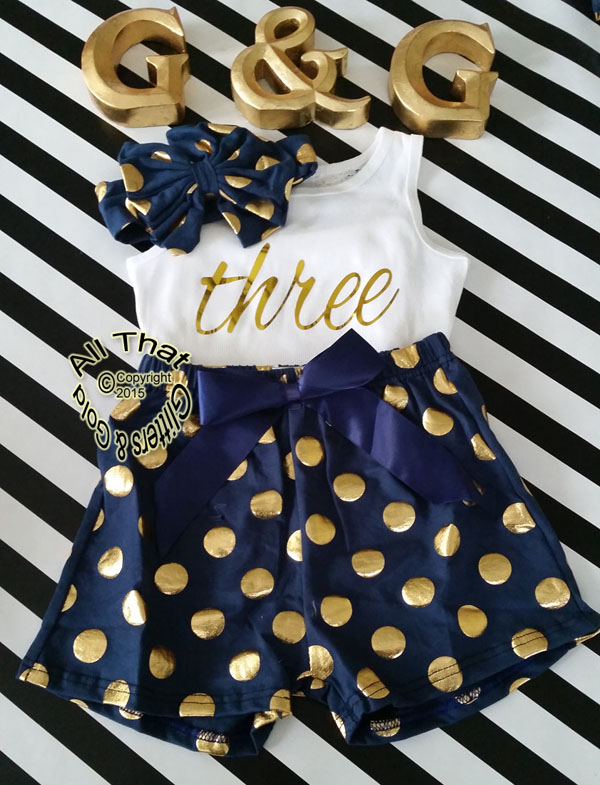 Navy and Gold Polka Dot 2nd 3rd 4th Girls Birthday Shorts Outfits