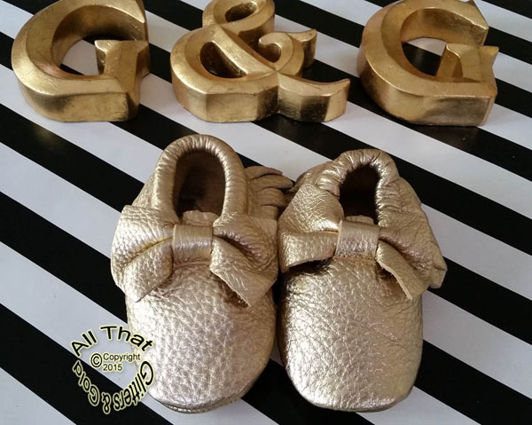 Leather Gold Faux Snake Skin Soft Soled Baby Moccasin Shoes With Bows
