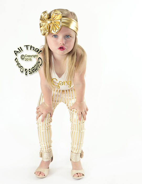 Baby and Little Girls Metallic Gold 4.5 Inch Big Bow Headbands