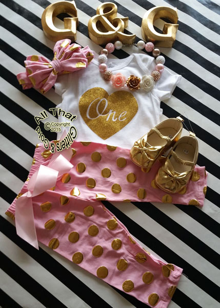 Pink and Gold Polka Dot One 1st Birthday Pants Outfits For Baby Girl