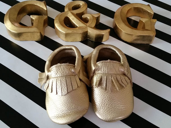 Leather Gold Soft Soled Baby Fringe  Moccasin Shoes