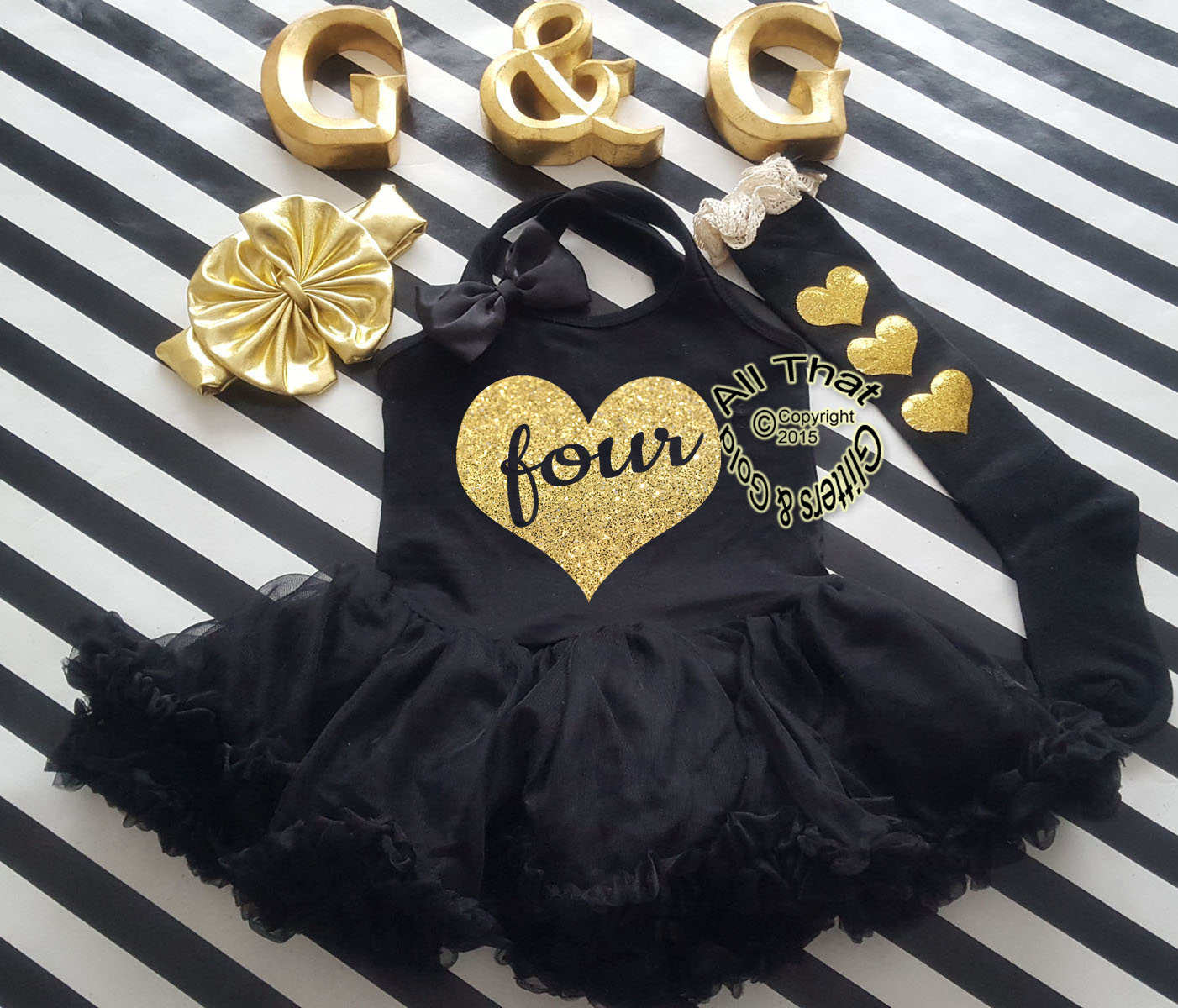 Glitter and Sparkly Gold Heart Birthday Tutu Dresses For Baby Girls