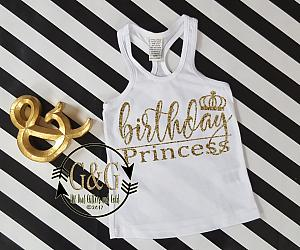 Glitter Birthday Princess Shirts For all Ages - Many Glitter Colors Available