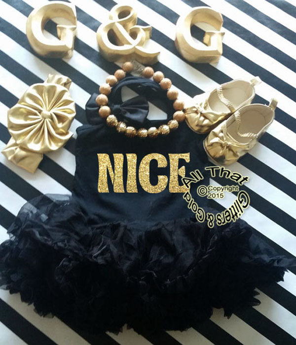 Black and Gold Glitter Nice Christmas Tutu Dress For Little Girls