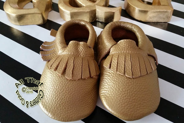 Leather Dark Gold Soft Soled Baby Fringe  Moccasin Shoes